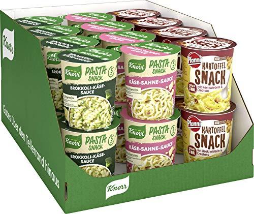 Knorr Pasta und Kartoffel, Käse-Sahne Sauce (8x), Brokkoli Käse Sauce (8x) Pfanni Kartoffelpüree Röstzwiebeln Croutons (8x) im Sortimentskarton (24 x Becher), 1.568 kg