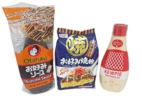 Okonomiyaki Zutaten Okonomi-Sauce Soße, Okonomiyaki-Mehl, japanische Mayonnaise QP Kewpie, Zutaten, Grundzutaten Rezept, Rezeptvorschlag