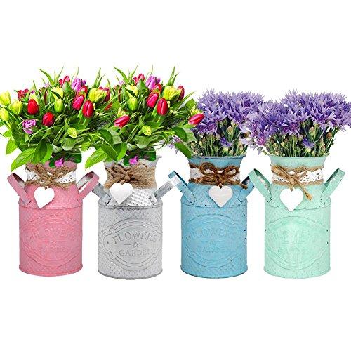 Eenvoudige Kleurrijke Bloem Pot Planter Houder Innovatieve Cylindrische Bloempot Woonkamer Gepersonaliseerde Bloem Planter Dames Shop Pastorale Sierijzer Craft Bucket Kleur: wit