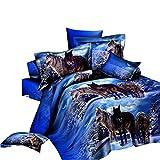 Lightinthebox - Juego de Cama de Matrimonio de 4 Piezas, diseño de Lobos en Nieve, Color Azul