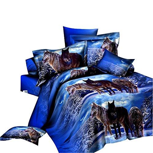 LightInTheBox - Set di biancheria da letto con lupo in 3D, con stampa di lupi su neve, 4 pezzi, in poliestere, 4 pezzi, colore: blu