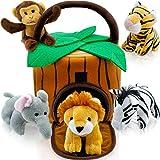 Play22 Plush Talking Stuffed Animals Jungle Set - Plush Toys Set with Carrier for Kids Babies & Toddlers - 6 Piece Set Baby Stuffed Animals Includes Stuffed Elephant, Tiger, Lion, Zebra, Monkey