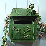 WXJ Casella Postale Stile Vintage Rurale Il Fascino Nostalgico Decorazioni per La Casa Casette Postali di Design per L'esterno 6 Processo Antiruggine Top Design degli Insetti 400X300X160MM