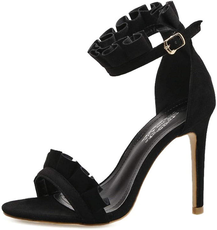 Kirabon hög klack Stack Lace hög klacked Roman Ladies Stiletto Versatile hög klacked Sandals (färg  svart, storlek  35)