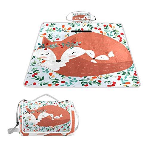 LZXO Jumbo-Picknickdecke, faltbar, Tiermotiv Fuchs, Blumendruck, groß, 145 x 150 cm, wasserdicht, handliche Matte, für Outdoor-Reisen, Camping, Wandern.
