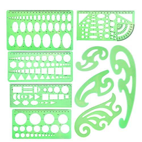 SNOWINSPRING 9-Teilige Zeichnungsvorlagen Geometrische Vorlagen mit Franz?sischer Kurve Messlineale Klare Grüne Kunststofflineale zum Entwerfen