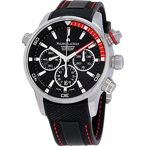 Maurice Lacroix Pontos S Chronograph Automatik Uhr, ML 157, Tag, Schwarz-rot