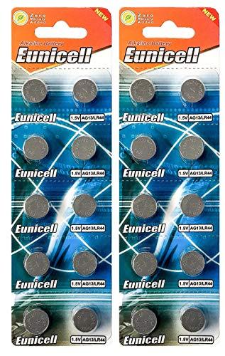 Eunicell 20 x AG13 quecksilberfrei LR44 G13 A76 GP76A 357 SR44W (2 Blistercards a 10 Batterien) EINWEG Markenware FBA