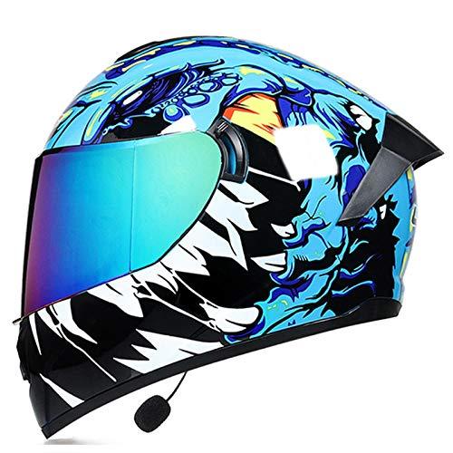 ZLYJ Casco De Motocicleta con Bluetooth, Lentes De Colores Aprobados por ECE Casco De Protección De Motocicleta De Cara Completa Casco Unisex Ligero Abatible J,S(55-56cm)