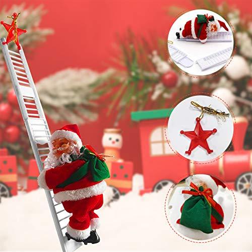 Sunshine smile Babbo Natale sulla Scala,Scala di Arrampicata elettrica,Figura di Babbo Natale,Scala di Arrampicata di Babbo Natale,Babbo Natale sulla Scala,Scala di Arrampicata elettrica (A)