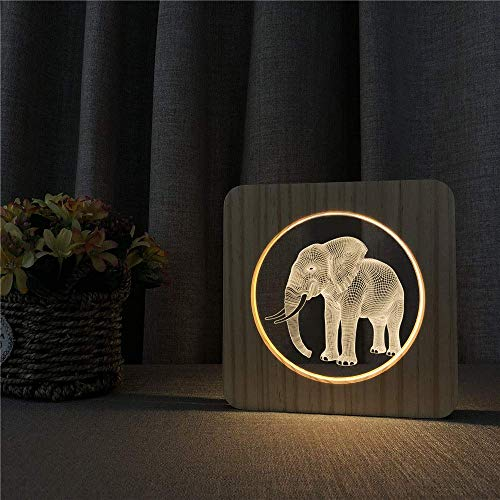 Zjcpow Lámpara de Mesa de 3D Elefante niños de Juguete de Regalo de luz LED Arylic t Mesa de iluminación de Talla n Sitio adorna xuwuhz