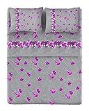 HomeLife Set Lenzuola Letto Matrimoniale Cotone Made in Italy | Completo 2 Piazze + Federe Fantasia Sassi e Fiori Lilla | Lenzuolo Sopra 240x300 + Sotto con Angoli 180x200 + 2 Federe 52x82 | 2P