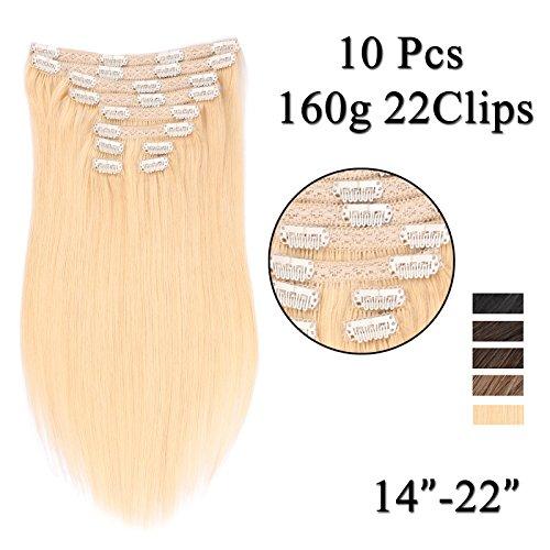 (35cm-55cm) Clip In Extensions 10 Teiliges SET 160g 100% Remy Echthaar für Komplette Haarverlängerung glatt Haarteile (60#, Platinum Blonde, 50cm)