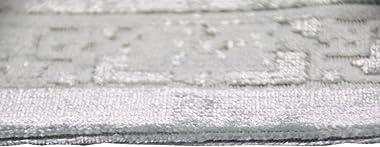 Merinos Tapis Design Moderne de Tapis de Salon avec la Frange dans la Turquoise crème Größe 200 x 290 cm