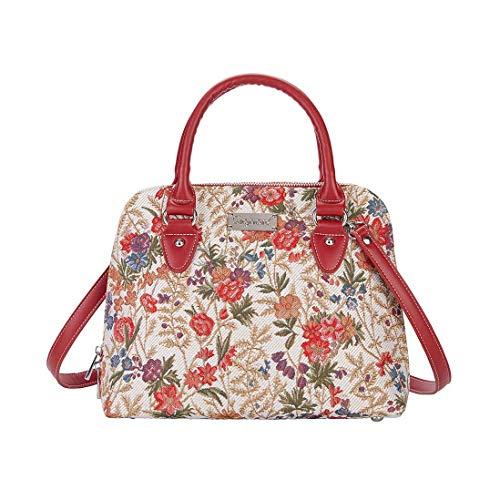 Signare Tapestry Arazzo Top Handle borsa borse donna, borsa donna tracolla con disegni delle collezioni V&A (Flower Meadow)