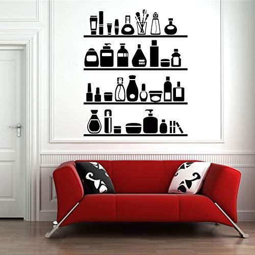 Cosmetische muur vinyl stickers home decor art stickers emulsie lotion lippenstift mascara nagellak schoonheidssalon winkel make-up muurschildering 42x51cm