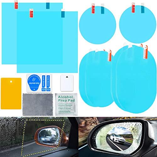 Espejo Retrovisor para coche, 8 Piezas de Lentes de Espejo Retrovisor para Espejo Retrovisor de Coche y Ventana Lateral Anti Niebla Nano Revestimiento Pelicula Protectora Retrovisor ⭐