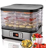 FDSAD Deshidratador de Alimentos con Controlador de Temperatura Temporizador Digital 5 bandejas, secador de Alimentos y deshidratador para deserción/Carne/Carne/Fruta/verdura