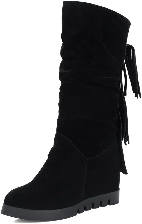 AdeeSu Womens Fringed Mid-Calf No-Closure Suede Boots SXC02397