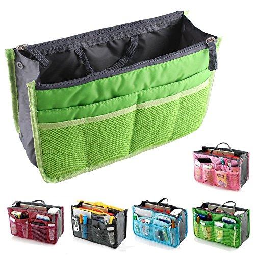 fenrad Doppel-Reißverschluss Multifunktions Handtaschenordner Handtasche Organizer Reisetasche Trading Tasche (Grün)