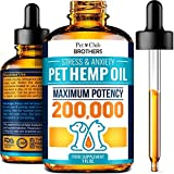 PETCLUBBROTHERS B Hemp Oil for Dogs and Cats - Premium Hemp Oil Drops 200,000 - Made in USA - Rich in Omega 3-6-9 - Hip & Joint Health