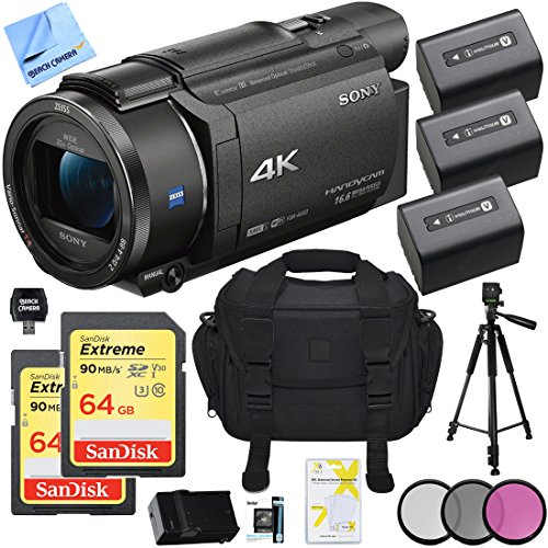 Sony FDR-AX53/B 4K Handycam Best Camcorder Bundle to Use for Hunting
