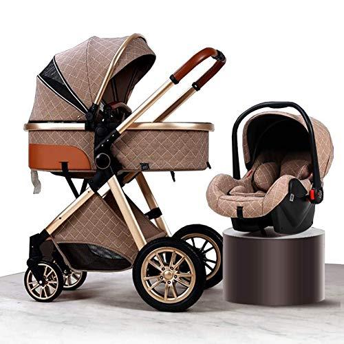 Cochecito de bebé multifuncional de alto paisaje, puede sentarse y acostar el amortiguador giratorio de 360 grados Buggies de bebé plegables, adecuado para el cochecito de peso ligero recién nacido