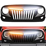 Grille For Jeep Wrangler JK 2007-2017 Front Bumper Grill with Turning Signal Light, Black