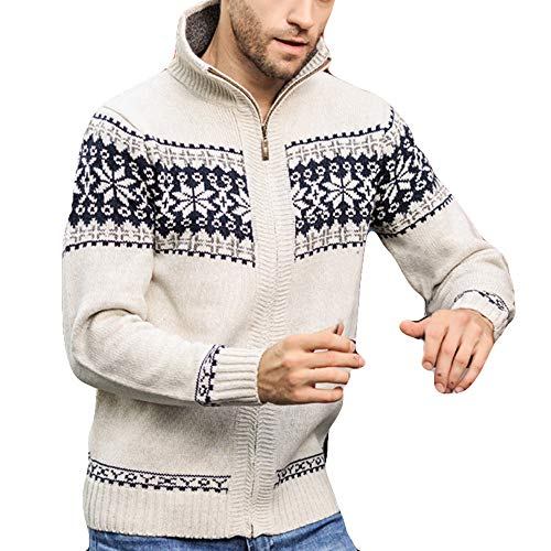 Men's Zip Knitted Cardigan Fleece Knitted Sweater Cardigan Coat Big and Tall Beige