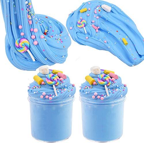 SWZY Cotton Candy Slime Blue Fluffy Cloud Slime Suministros Stress Relief Toy Perfumado Masilla de Bricolaje Juguete para Lodos para niñas y niños de 8 oz. (120ML * 2)