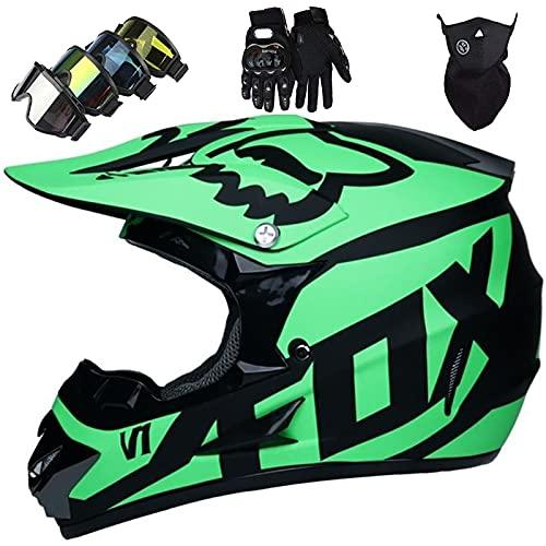Casco Descenso Niños, Juego de Casco de Moto para Jóvenes Adultos Aprobado por DOT y ECE con Gafas/Máscara/Guantes (4 Piezas), Casco Integral para MTB BMX Dirt Bike Race - con Diseño Fox - Verde