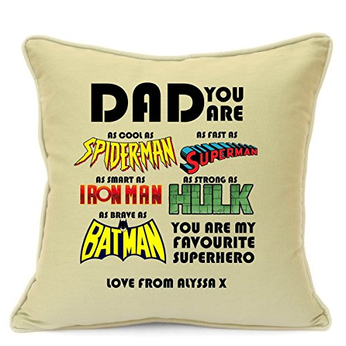 Personalised Cushion Cover Gift For Dad Birthday Superhero Spiderman Superman Ironman Hulk Batman 18 inch 45 cm Beige
