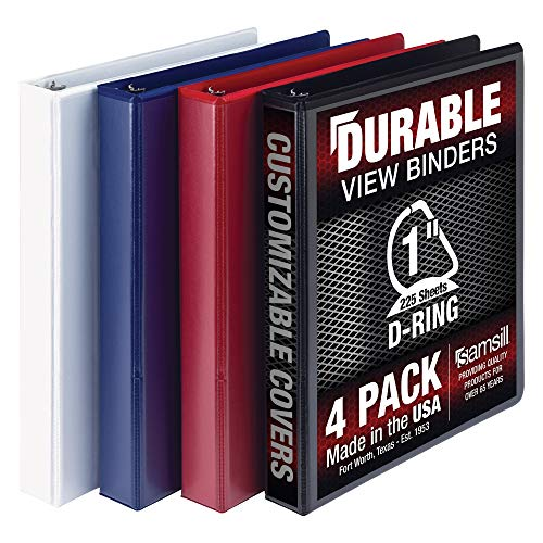 Samsill Durable 3 Ring View Binders, 1 Inch D-Ring - Holds 250 Sheets, PVC-Free/Non-Stick Customizable Cover, Black, White, Blue, Red, 4 Pack, Assorted (MP46409)