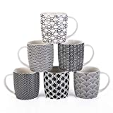 MACHUMA Set of 6 11.5 oz Coffee Mugs with Black and White Geometric Patterns, Ceramic Tea Cup Set