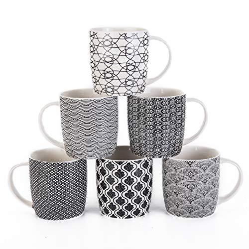 6er Set Kaffeebecher mit schwarz-weißem geometrischen Muster, Keramik Teetassen-Set 6er Pack (schwarze Tasse-Set) (Schwarz set of 6)