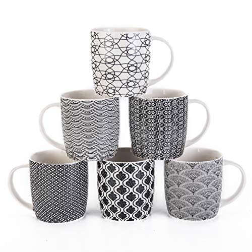 MACHUMA Set of 6 11.5 oz Coffee Mugs with Black and White Geometric Patterns, Ceramic Tea Cup Set