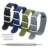 MEGALITH Bracelet de Montre 4 Paquet Bracelet NATO 16mm 18mm 20mm 22mm 24mm Bandes en...