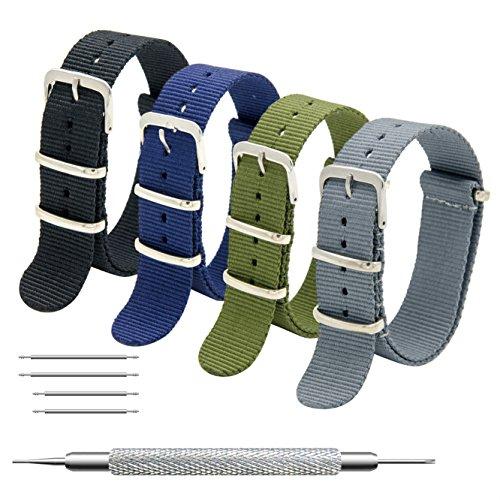 MEGALITH Cinturino Orologio 4 Pacchetti 18mm 20mm 22mm Balistico Cinturino Nato Cinturino in Nylon (16mm, Black+Army Green+Smoke Grey+Navy Blue)