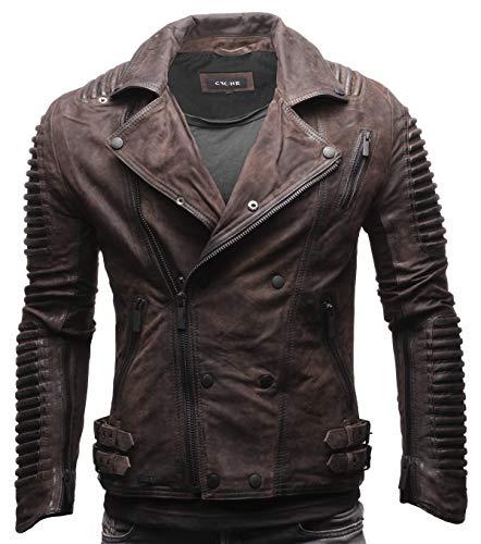 Crone Unique Herren Echtleder Biker Jacke Premium Lederjacke Weiches Schafs-Leder mit vielen Details und Zippern (Elephant (Nubukleder), M)