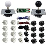 SJJX 2 Players DIY Arcade Game Button and Joysticks Controller Kits for Raspberry Pi and Windows,5 Pin Joysticks,Black and White Each with 10 Buttons