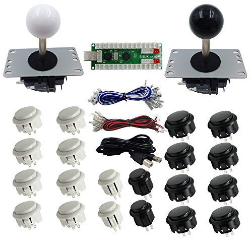 SJJX 2-spelers DIY Arcade Game Button en Joysticks Controller Kits voor Raspberry Pi en Windows,5 Pin Joysticks,Black and White elk met 10 knoppen
