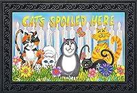 "Briarwood Lane Cats Spoiled Here Spring Doormat Floral Humor Indoor Outdoor 18"" x 30"" [並行輸入品]"