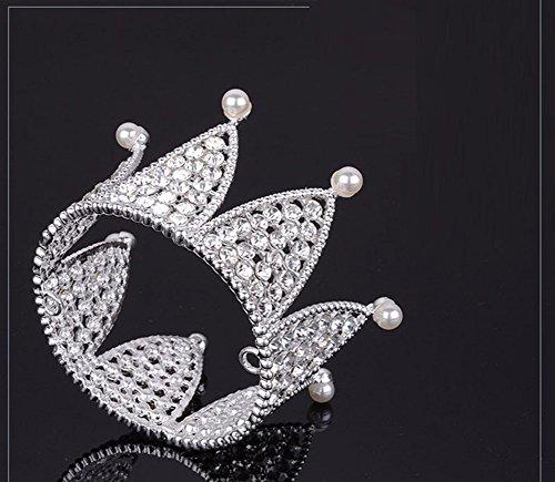 CAOLATOR Cheveux en Perles et Cristal Accessoire pour Mariée Accessoire pour Cheveux de Mariée Couronne de mariage guirlandes couronne couronne florale(7.8 * 5.5cm)