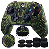 9CDeer Studded Protective Customize Transfer Printing Silicone Cover Skin Sleeve Case + 8 Thumb Grips Analog Caps for Xbox One/S/X Controller Dark Green Compatible with Official Stereo Headset