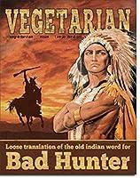 Vegetarian Translation ブリキ看板 ビンテージ風 32×40cm 輸入品