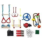 Ninja Warrior Kit de curso de obstáculos para niños colgando barras de mono puños, anillos de gimnasia, cuerda de oscilación, escalera portátil al aire libre Ninja Course Equipo de entrenamiento