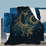 Boho Chic Golden Sun Moon and Stars Throw Fleece Blanket Flannel Ultra Soft Lightweight Microfiber Luxury Air Conditioner Quilt for Sofa Bedroom Office Travel All Season S 50'X40'