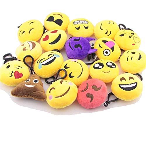 Mlian 10 portachiavi a forma di emoji, in peluche, con ciondolo a forma di cuore, per bambini, decorazione per feste, anniversari, Pasqua, 10 pezzi