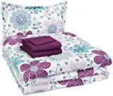 AmazonBasics Easy Care Super Soft Microfiber Kid's Bed-in-a-Bag Bedding Set - Twin, Purple Flowers