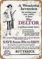 1921 Butterick ファッションパターン金属錫サイン 12 × 8 インチホームキッチン寝室バーサイン装飾 メタルプレートブリキ 看板 2枚セットアンティークレトロ